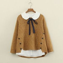Mushi - Button-Accent Marled Sweater