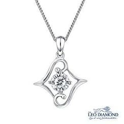 Leo Diamond - Beloved Collection - 18K White Gold Diamond Solitaire Double L-Shaped Pendant Necklace (16')