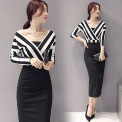 Sienne - Long-Sleeve V-Neck Striped Panel Sheath Midi Dress