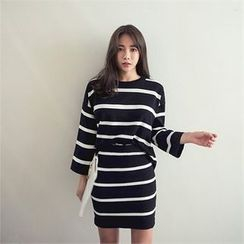 ERANZI - Set: Striped Knit Top + Mini Skirt