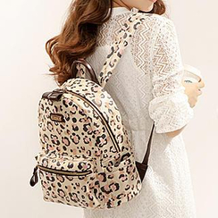 Axixi - Faux-Leather Leopard-Print Backpack