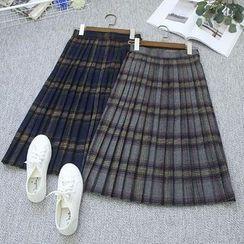 Oh My Love - Pleated Plaid A-Line Skirt