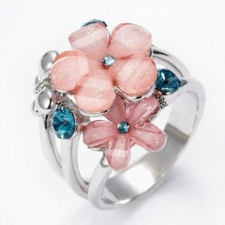 Moonbasa - Rhinestone Flower Ring
