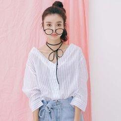 Porta - Pinstripe V-neck Linen Cotton Top