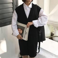 Dute - 純色V領背心裙
