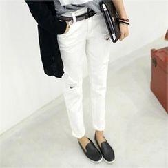 PEPER - Distressed Straight-Cut Pants