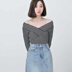 BORAN - V-Neck Striped Knit Pullover