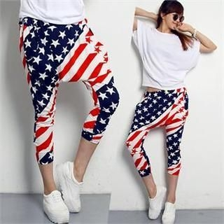 FASHION DIVA - Flag Print Harem Pants