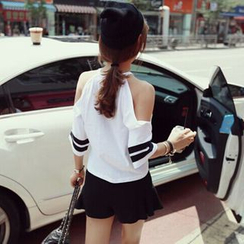 Imogen - 条纹中袖露肩T恤