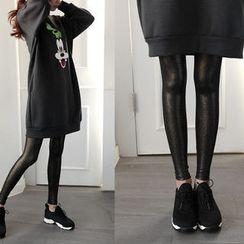 NIPONJJUYA - Glossy Brushed-Fleece Lined Leggings