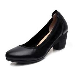 Hannah - Genuine Leather Block Heel Pumps