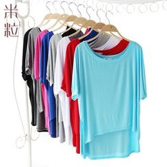 Grainie - Dip Back Elbow-Sleeve T-Shirt