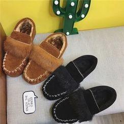 時尚麥樂 - 毛絨邊毛裏平跟鞋
