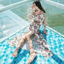Romantica - 3/4-Sleeve Slit-Front Printed Dress