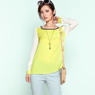 Moonbasa - Long-Sleeve Color-Block Flap Blouse