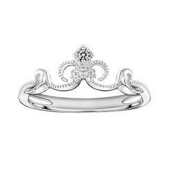 MaBelle - 18K 白色黄金精致皇冠钻石珠边戒指 (约0.05卡)