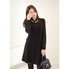 J-ANN - Wool Blend Laced-Sleeve Dress