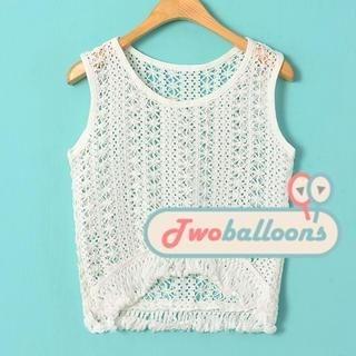 JVL - Fringed Crocheted Sleeveless Top