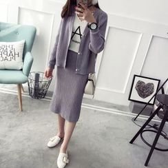 Qimi - Set: Faux Pearl Cardigan + Midi Knit Skirt