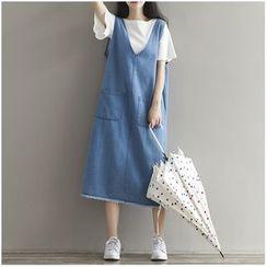 MayFair - Sleeveless V-Neck Denim Midi Dress