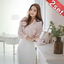 Styleberry - Set: Open-Placket Chiffon Blouse + Pencil Skirt