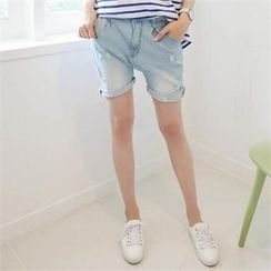 PINKSISLY - Pleated-Front Denim Shorts