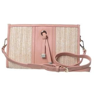ans - Faux Leather Panel Raffia Crossbody Bag