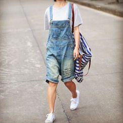 YORU - Lettering Washed Dungaree Shorts