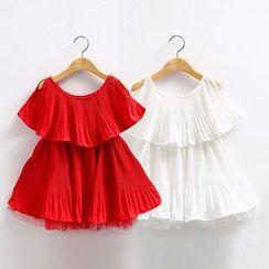 贝壳童装 - 儿童荷叶打褶裥连衣裙