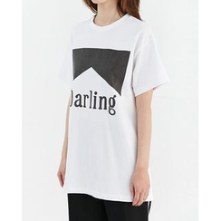Someday, if - Short-Sleeve Lettering Cotton T-Shirt
