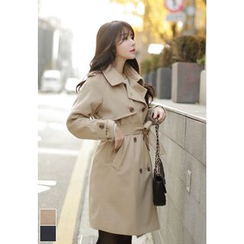 MyFiona - Dual-Breasted Trench Coat with Sash