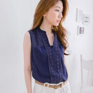Tokyo Fashion - Sleeveless Lace-Trim Blouse