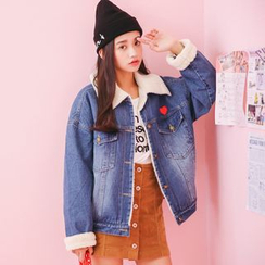 lilygirl - Heart Applique Fleece Lined Denim Jacket
