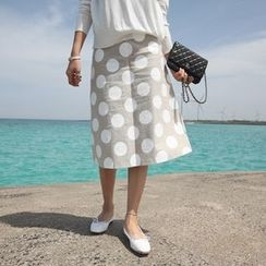 STYLEBYYAM - Linen Patterned A-Line Midi Skirt