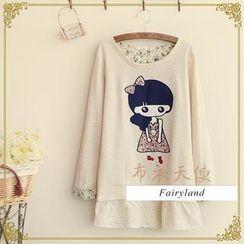 Fairyland - Girl Appliqué Lace Trim T-Shirt