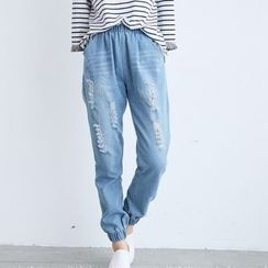 BAIMOMO - Washed Distressed Elastic-Cuff Jeans
