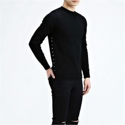THE COVER - Stud-Trim Wool Knit Top