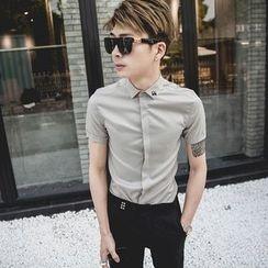 Manne - 纯色短袖衬衫