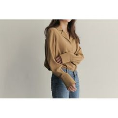 UPTOWNHOLIC - Notched-Lapel Pintuck-Back Blouse