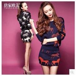 Tang House - Set: Horse Print Sweater + Knit Skirt