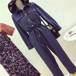 Octavia - Denim Long-Sleeve Jumpsuit