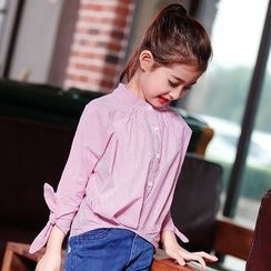 Pegasus - Kids Striped Band Collar 3/4 Sleeve Shirt