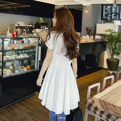 REDOPIN - Shirred A-Line T-Shirt Dress