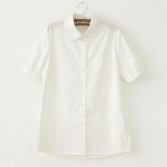 Jill & Jane - Short-Sleeve Contrast-Trim Blouse