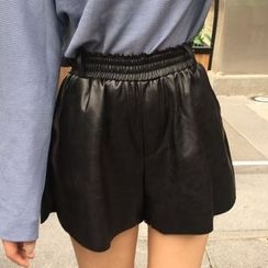 OCTALE - Elastic Waist Faux Leather Shorts