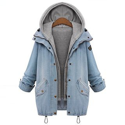 Fashion Street - Set: Hooded Vest + Washed Denim Jacket
