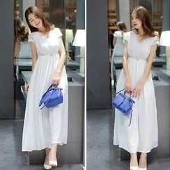 GARAT - Lace Panel Short Sleeve Maxi Chiffon Dress