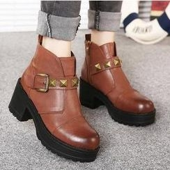 Mancienne - Studded Buckled Heel Ankle Boots