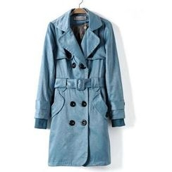 9mg - Double-Breasted Belted Trench Coat