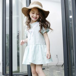 Cuckoo - Kids Striped Short Sleeve Dress